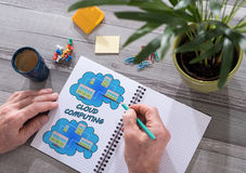 Cloud computing concept on a notepad royalty free stock images