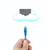 Cloud computing concept, officeman hold cable connect to clouds. Server in white background Stock Photography