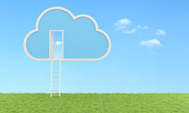 Cloud computing concept - Outdoor version. Cloud with ladder  and open door in a meadow- 3D Rendering royalty free illustration