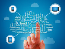 Cloud computing. Cloud computing concept over blue background Stock Image