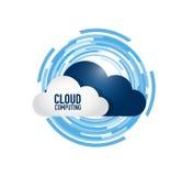 Cloud computing concept. Over a tech rotating circle. illustration design Royalty Free Stock Photos