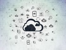 Cloud computing concept: Cloud on Digital Data Paper background. Cloud computing concept: Painted black Cloud icon on Digital Data Paper background with  Hand Stock Image
