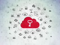 Cloud computing concept: Cloud With Key on Digital Data Paper background. Cloud computing concept: Painted red Cloud With Key icon on Digital Data Paper Stock Photo