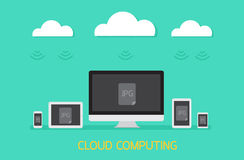 Cloud computing concept with photo transfer. Stock Photos