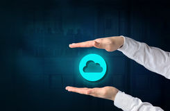 Cloud computing concept. Protecting gesture of businessman and s. Ymbol of a cloud and business background. connect to cloud royalty free stock photography