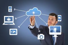 Cloud Computing Concept RSS on Touch Screen. Working Conceptual Business Concept Stock Photography
