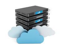 Cloud computing. Concept with server rack and cloud shapes Stock Photography