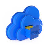 Cloud Computing Concept Shelf with folders  on white Stock Photos