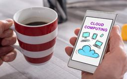 Cloud computing concept on a smartphone Stock Photography