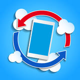 Cloud computing concept. Smartphone synchronizing Stock Photography