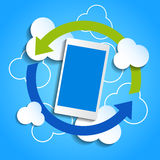 Cloud computing concept. Smartphone synchronizing Stock Image