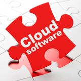 Cloud computing concept: Cloud Software on puzzle background Stock Photography
