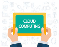 Cloud Computing concept. Software, Web, Mobile apps development. Flat style and doodle icons in background, vector illustration Royalty Free Stock Image