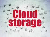 Cloud computing concept: Cloud Storage on Digital Data Paper background. Cloud computing concept: Painted red text Cloud Storage on Digital Data Paper background Stock Photo