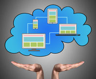 Cloud computing concept sustained by open hands Stock Photography