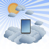 Cloud computing concept with Tablet in the clouds Stock Photos