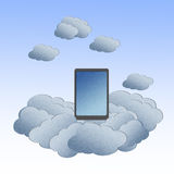 Cloud computing concept with Tablet in the clouds Stock Image