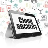 Cloud computing concept: Tablet Computer with Cloud Security on display. Cloud computing concept: Tablet Computer with  black text Cloud Security on display Stock Images