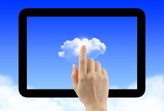 Cloud computing concept with tablet pc frame Royalty Free Stock Photo