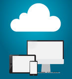 Cloud computing concept - tablet, PC, smartphone. On a blue background. Vector illustration Royalty Free Stock Photo