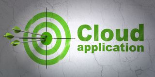 Cloud computing concept: target and Cloud Application on wall background Royalty Free Stock Image