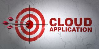 Cloud computing concept: target and Cloud Application on wall background Stock Photos