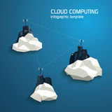 Cloud computing concept template with servers. Low Stock Image