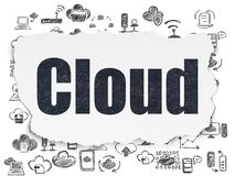 Cloud computing concept: Cloud on Torn Paper background. Cloud computing concept: Painted black text Cloud on Torn Paper background with  Hand Drawn Cloud Stock Image