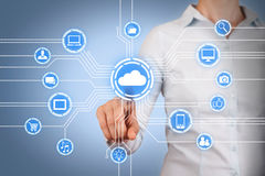 Cloud Computing Concept on Touch Screen Stock Photos