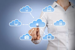 Cloud Computing Concept Touching on Screen Stock Photography