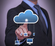 Cloud Computing Concept Touching on Touch Screen Royalty Free Stock Images