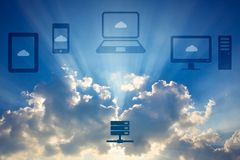 Cloud computing concept. Various devices like Smartphone, Tablet Computer, PC, Laptop & Database are connected to Cloud Royalty Free Stock Photography