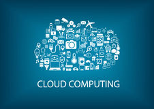 Cloud computing concept with various icons of connected devices Royalty Free Stock Photo