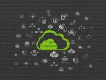 Cloud computing concept: Cloud on wall background. Cloud computing concept: Painted green Cloud icon on Black Brick wall background with  Hand Drawn Cloud Royalty Free Stock Images