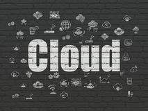 Cloud computing concept: Cloud on wall background. Cloud computing concept: Painted white text Cloud on Black Brick wall background with  Hand Drawn Cloud Stock Photography