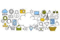 Cloud Computing concept for web design template. Vector illustration of flat line art design of Cloud Computing concept for web design template Stock Images
