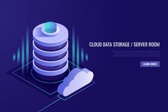 Cloud computing concept. .Web hosting and cloud technology.Data protection,database security.Isometric style royalty free illustration