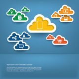 Cloud computing concept with web icons set flat de. Cloud computing concept with icons set in modern flat design in vintage colors Royalty Free Stock Images