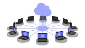 Cloud computing concept in white with connected laptops Stock Images