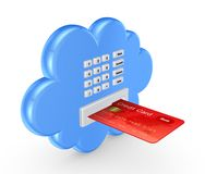 Cloud computing concept. On white. 3d rendered illustration royalty free stock photo