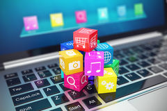 Cloud computing concept: white laptop with  of color application icons  on  background. 3d illustration Stock Photo