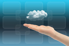 Cloud computing concept with woman hand Stock Images