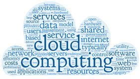 Cloud computing concept in word tag cloud royalty free illustration