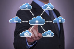 Cloud Computing Concept Working on Touch Screen Stock Photography