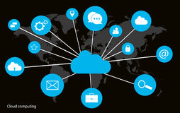 Cloud computing concept with world map interface neon Royalty Free Stock Images