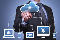 Cloud Computing Concepts. Working with virtual screen growth Royalty Free Stock Photos
