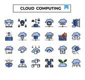 Cloud computing and connection filled outline design icon set. Cloud computing filled outline design icon set for presentation, internet connection, website,big royalty free illustration
