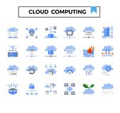 Cloud computing and connection flat design icon set. Cloud computing flat design icon set for presentation, internet connection, website,big data issue etc stock illustration
