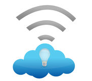 Cloud computing connection lightbulb illustration Stock Photography
