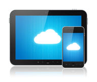 Cloud Computing Connection On Modern Devices Stock Photos